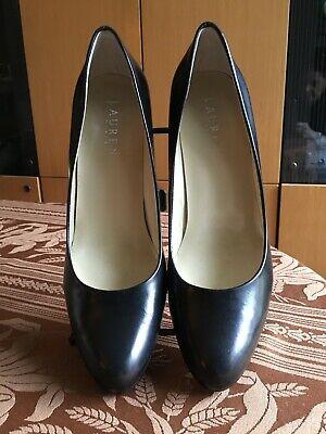 Ralph Lauren Women's Zamora Model Black Leather Almond Toe Classic Pumps Sz (Ralph Lauren Women Models)