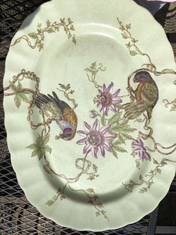 Vintage Asian WL 1895 Wong Lee Crackled Porcelain Plate ~~