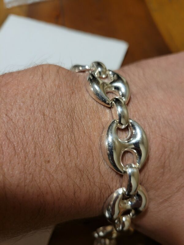 """Silver Hollow Puffy Signed Gucci Link Chain Bracelet 7 1/4"""""""