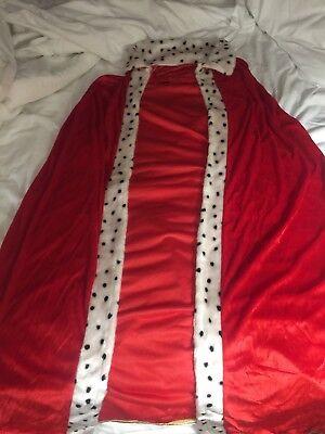 Medieval KING QUEEN 101 Dalmatians CRUELLA DEVILLE Robe Cape Cloak Coat Crown (Cruella Deville Costume Coat)