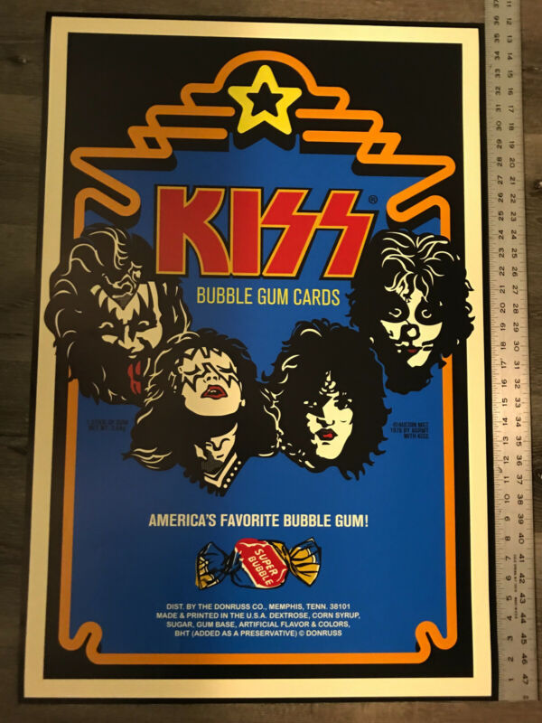 KISS Donruss Bubble Gum Cards 24 x 36 poster, NEW unused. VERY COOL!