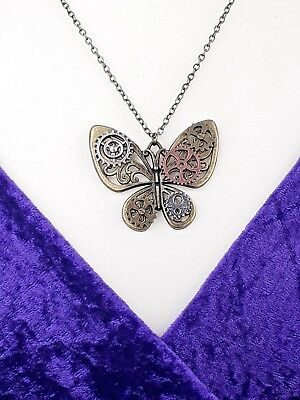 Ladies Girl Butterfly Pendant Necklace Steampunk Gothic Style Costume Jewellery  - Steampunk Fashion Girl