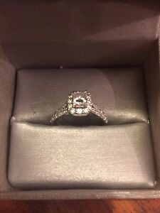 Halo Engagement Ring and matching Wedding Band