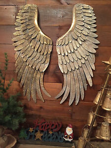 Metal Angel Wings Hanging Wall Decor Rustic Distressed Vintage Gold Set