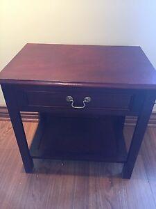Antique solid wood end table