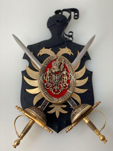 Vintage toledo spain coat of arms medieval swords armor shield metal plaque