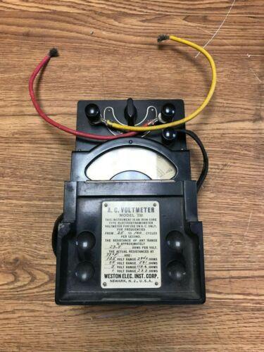 Vintage Weston Electrical Instruments AC Voltmeter Model 330 w/ original leads