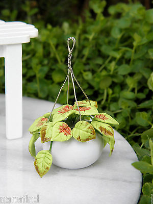 Miniature Dollhouse FAIRY GARDEN ~ Hanging Pot with Plant Greenery ~ NEW