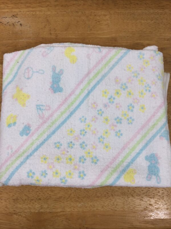 "Vintage Baby Receiving Blanket Bunny Chicks Unisex 30"" x 40"" 100% Cotton"