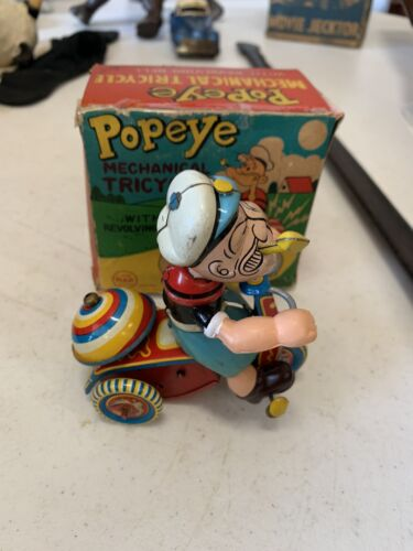 RARE Vintage Linemar Popeye Mechanical Tricycle w/Bell Wind-Up Toy In Orig Box (Used - 3000 USD)