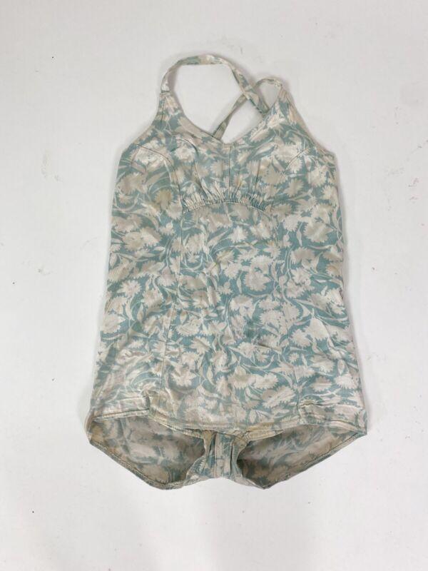 VTG 1930s 40s Floral Satin Swimsuit Bathing Suit Adjustable S M