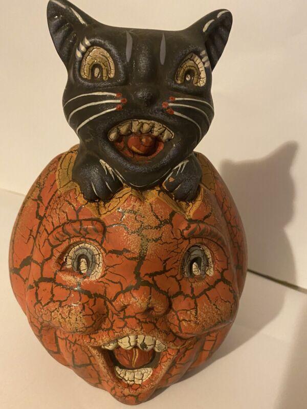 Midwest/Cannon Falls Halloween  Crackled Black Cat in Jack O Lantern Pumpkin