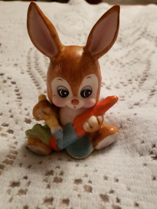 Russ Berrie Vintage 1979 Porcelain Bunny Rabbit Painting Carrot