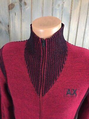 Armani Exchange Mens Mockneck Full Zip  Red Black Sweater Size Small SPELL (Armani Exchange Sweater Men)
