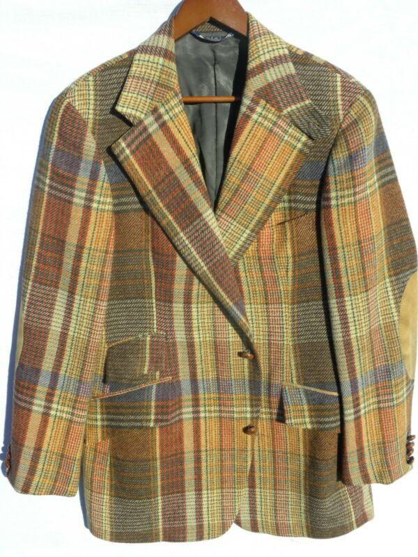 Vtg Late 60s - Early 70s Mens Ralph Lauren Wool Tweed Plaid Blazer Sz 38 38R EUC
