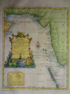 Antique map of the Malabar Coast and the Maldives by Thomas Salmon 1752