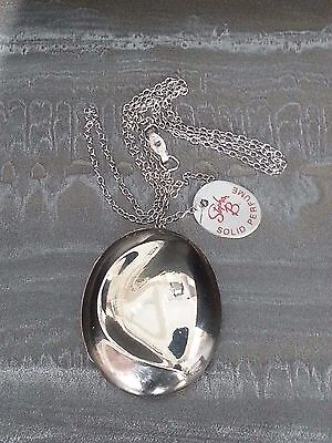 Stephen B Silver 925 Necklace Silverwave Solid Perfume Locket VINTAGE UNUSED FAS