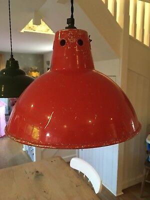 vintage enamel lamp shade