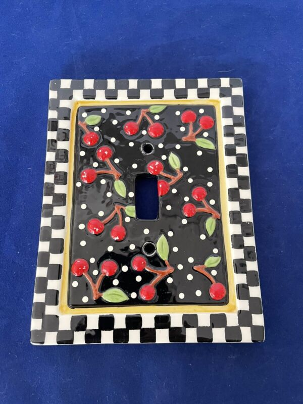 Mary Engelbreit Switch Plate Cover 1-Gang Toggle Ceramic Cherries Checkered