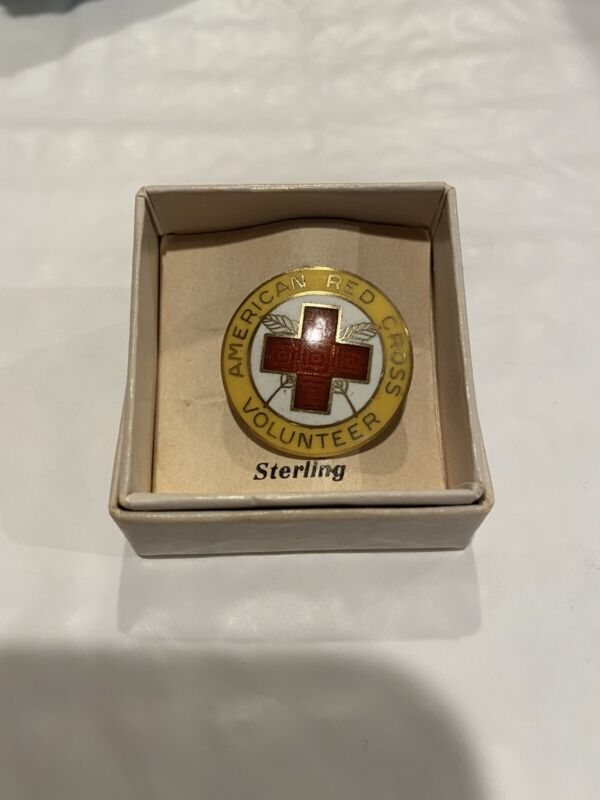 American Red Cross Sterling Silver Vintage Volunteer Staff Assistance Pin