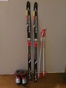 Kids cross country skis poles and boots