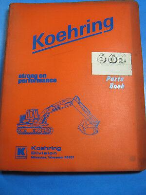 Koehring 665 Excavator Hoe Parts Book Catalog