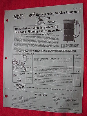 1971 For John Deere Dealers Hydraulic Oil Removing Unit Order Form Brochure
