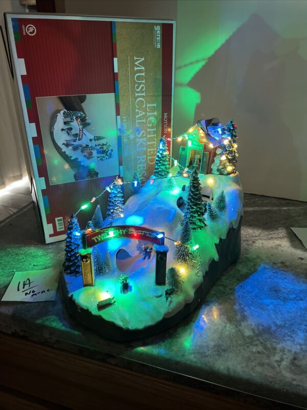 """Animated LIGHTED Twilight Ski Slopes Hill Christmas Snow Downhill 14.5"""" (1a) See"""