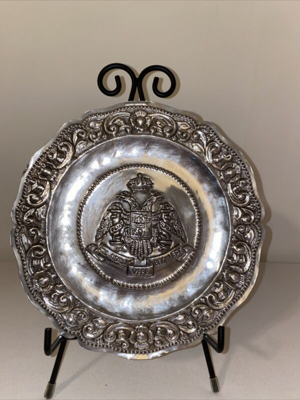 RARE Double Eagle Tray Plate 19th Cent.900 Silver  by Welsch & Co.