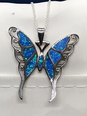 Sterling Silver Lab-Created Blue Opal Butterfly Pendant Necklace MSRP $100.00 Lab Opal Pendant