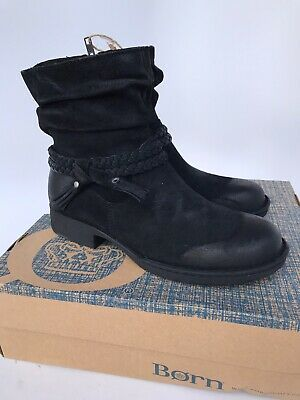Born Womens Ouvea Leather Ankle Fashion Boots Black Size 8