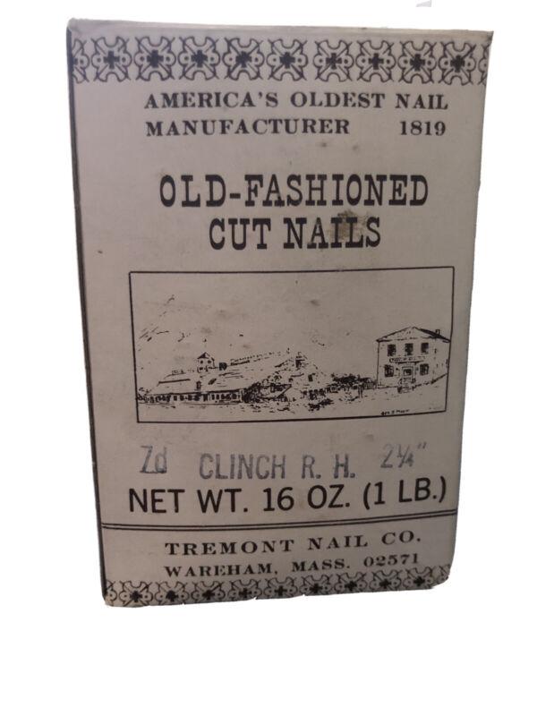 """Vintage 1LB Boxes of 2-1/4"""" Fine Finish 7D Cut Nails Tremont Nail Co"""