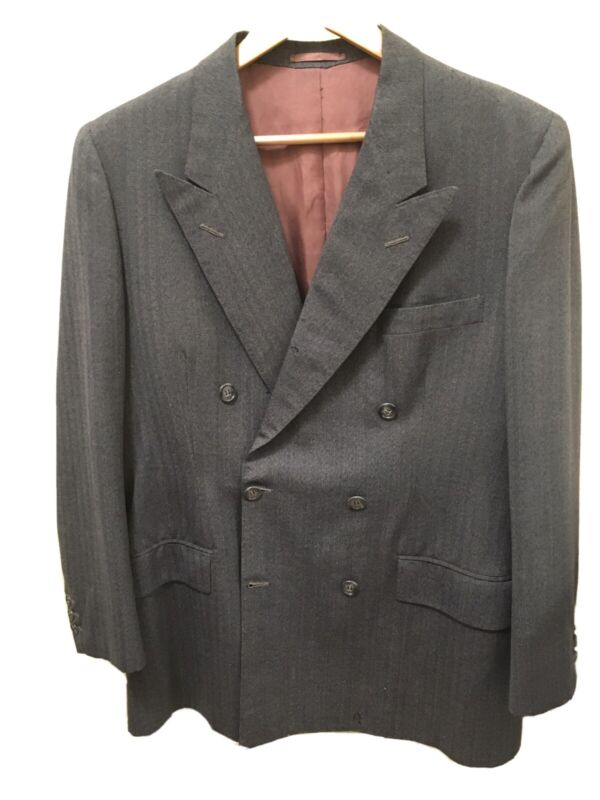 Vintage 1940s Beirut French Double Breasted Suit Jacket Dated 1948 OBO