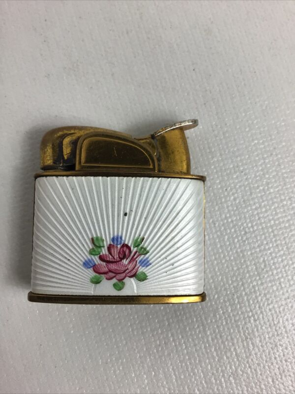 Vintage filigree goldtone  flower & leaves Evans Lighter