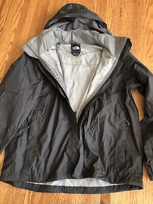 North Face Mens Large Gray Nylon Hooded Wind Breaker Rain Jacket NEW