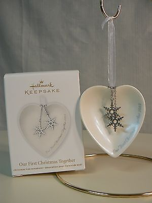 Hallmark Ornament 2012 OUR FIRST CHRISTMAS TOGETHER Heart Snowflakes NEW