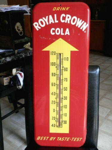 "VINTAGE 1953 ROYAL CROWN COLA METAL ADVERTISING THERMOMETER SIGN 25.5""X9 3/4"""