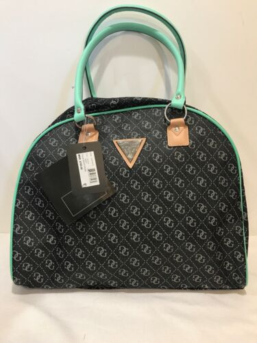 GUESS Women's Woodhaven Logo Dome Satchel Black with Green H