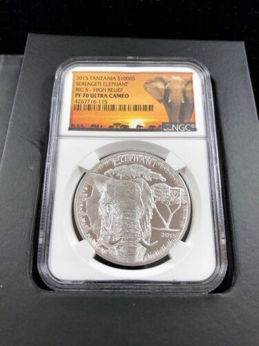 2015 Tanzania Elephant Big 5 High Relief PF70 Ultra Cameo 1 oz Silver Shillings