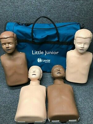 4 Pack Of Laerdal Little Anne Junior Cpr Manikins Resusci With Carrying Case