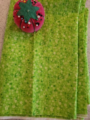Vintage VTG 1990s Cotton Floral Green Neon Fabric  - 1.78 Yards x 44 WOF