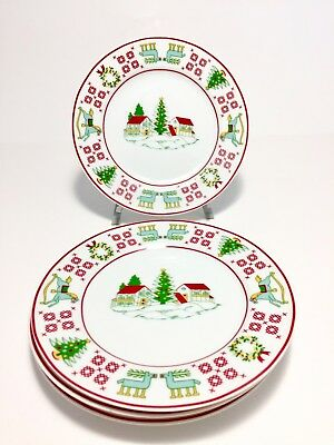 Saks Fifth Avenue Christmas Embroidery Sampler Appetizer Plates 7 1/2