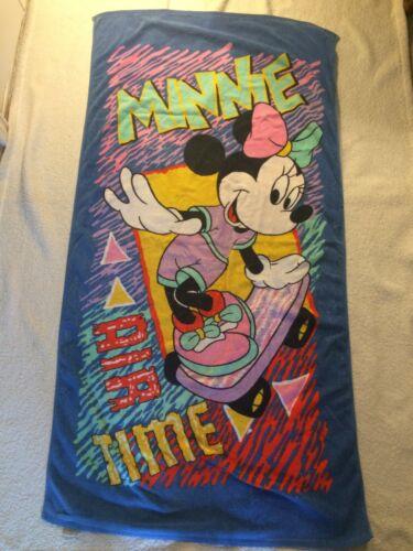 "Vintage J Franco Walt Disney Beach Towel Minnie Mouse Skateboarding 57"" x 30"""