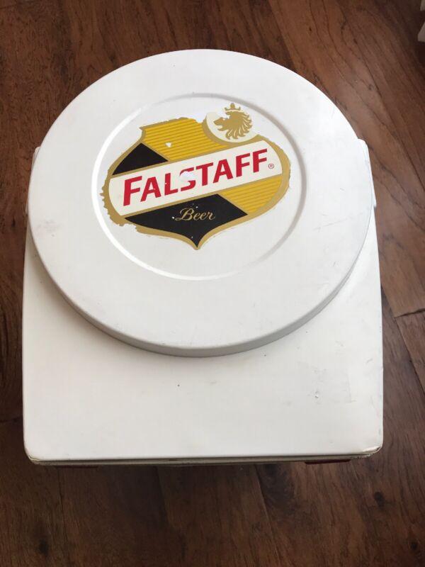 Vintage Red/White Plastic Falstaff Portable Beer Cooler With Metal Handle