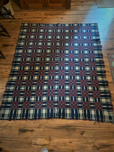 Coverlet Overshot  hand woven  3 colors with pine tree pattern 19th Century