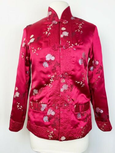 Asian Reversible Jacket Traditional Chinese Coat Red Black Pockets Oriental