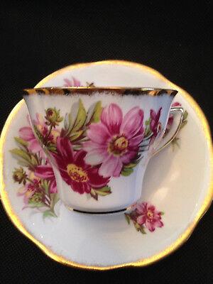 Rosina English Bone China Cup & Saucer Pink/Purple Flowers Heavy Gold Trim