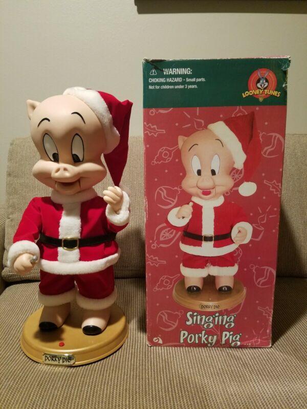"Singing Porky Pig ""Blue Christmas"" Animated Looney Tunes Rare Gemmy 2002 w Box!"