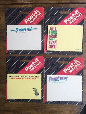 Vintage 1980s 3m Post-it Note Pad Self Stick Note Pad Lot Of 4 New Sealed Funny