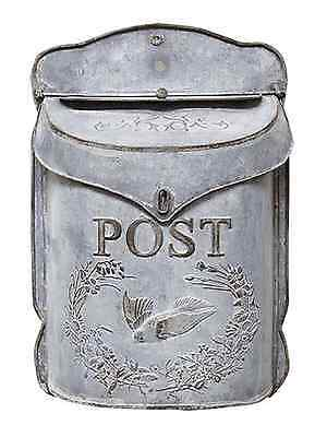 Vintage Chic Shabby Cottage Metal Mail Box Letter Holder Wall Mount French Post